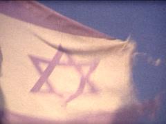 SUPER8 ISRAEL israeli damaged flag Stock Footage