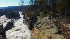 Pan over small rapids near Great Falls Stock Footage