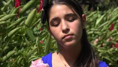 Sad Teen Girl near Plants - stock footage