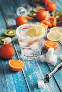 Refresh drink with ice and citrus assorted fruits Stock Photos