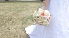Wedding flower in the bride's hand Stock Footage