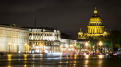 Night view of Palace square and Saint Isaac Cathedral - stock footage