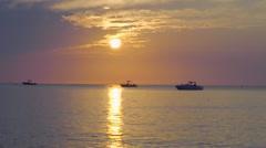 Establishing Shot Of Peaceful Sunset Over Calm Atlantic Ocean Stock Footage