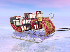 Christmas Santa sleigh full of gifts - 3D render Piirros