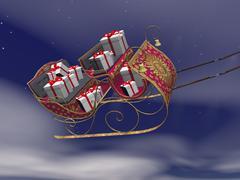 Christmas Santa sleigh full of gifts - 3D render Stock Illustration