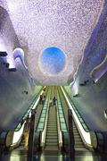 Interior of Toledo Metro Station in Naples, Italy Stock Photos