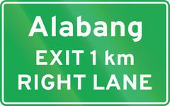 "Stock Illustration of Road sign in the Philippines - Advance Exit Sign (with distance and ""RIGHT LA"