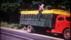 2863 - truck driver pulls over,checks his load - vintage film home movie Stock Footage