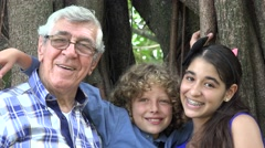 Grandfather and Grand Kids Stock Footage