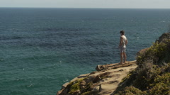 Looking out from the edge of a rock at The Point, Mossel Bay. Stock Footage