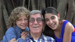 Happy Grandfather and Grand Kids Stock Footage