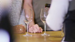 4K Attractive couple enjoying a taster session in specialist wine shop. - stock footage