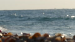 girl playing with seashells on the shore of the Mediterranean - stock footage