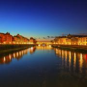 Ponte Vecchio on sunset, old bridge, medieval landmark on Arno river. Florenc - stock photo