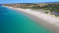 Aerial view of Port Willunga Tilt Down Stock Footage