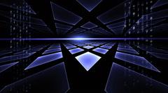 Internet Concept, Data Flow, Blue Geometrical Horizon, Communication Concept Stock Footage
