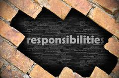Hole in the brick wall with word responsibilities - stock photo