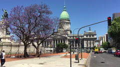 Argentinian Congress building street view Stock Footage