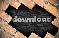 Hole in the brick wall with word download - stock photo