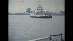 Stock Video Footage of Vintage 16mm film, 1960, Netherlands, ferry crossing