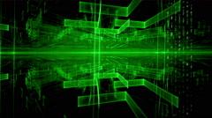 Data Flow, Green Geometrical Horizon, Communication Concept Stock Footage
