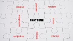 Word Association - Right Brain - on white jigsaw puzzle - stock footage