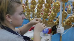 Women Factory of New Year's Balls in Klavdievo Ukraine Excursion to the Factory - stock footage