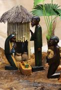 african nativity scene with baby jesus joseph and mary - stock photo