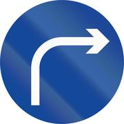Road sign in the Philippines - Direction To Be Followed - Turn Right Only - stock illustration