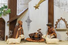 Stock Photo of crib of South America with baby Jesus and the terracotta figurines
