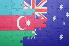 Stock Photo of puzzle with the national flag of azerbaijan and australia
