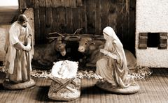 nativity scene with baby Jesus in the manger ox with donkey - stock photo