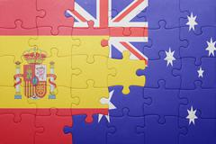Stock Photo of puzzle with the national flag of spain and australia