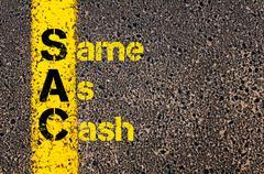 Accounting Business Acronym SAC Same As Cash - stock photo