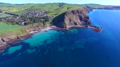 Aerial view Second Valley Jetty and foreshore - stock footage