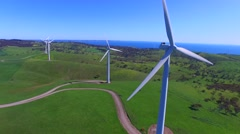 Aerial views of Starfish Hill Wind Farm Stock Footage