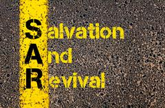 Accounting Business Acronym SAR Salvation And Revival - stock photo