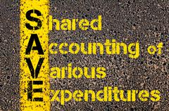 Accounting Business Acronym SAVE Shared Accounting Of Various Expenditures - stock photo