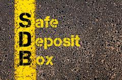 Accounting Business Acronym SDB Safe Deposit Box - stock photo
