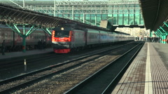 Arrival Trains on Station Samara Russia - stock footage