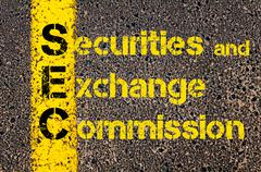 Accounting Business Acronym SEC Securities and Exchange Commission Stock Photos