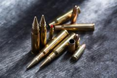 Rifle and pistol copper cartridges - stock photo