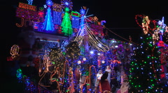Toronto house covering in Christmas lights for the holiday festive season - stock footage