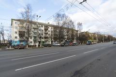 VLADIMIR, RUSSIA -05.11.2015. View of Lenin street in afternoon - stock photo