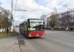 VLADIMIR, RUSSIA -05.11.2015. movement of buses on Lenin Street - stock photo