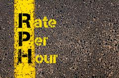 Accounting Business Acronym RPH Rate Per Hour - stock photo