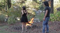 Sexy Couple Dancing Outdoors, Young Lovers Dance Stock Footage