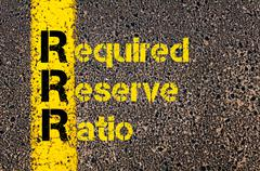 Accounting Business Acronym RRR Required Reserve Ratio - stock photo