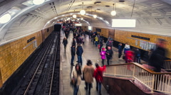 Moscow subway in rush hour Stock Footage