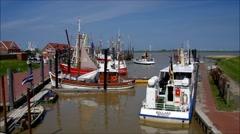 Ditzum harbour, North Sea Stock Footage